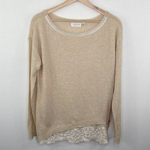 RD Style Cream Round Neck Lace Knit Sweater L